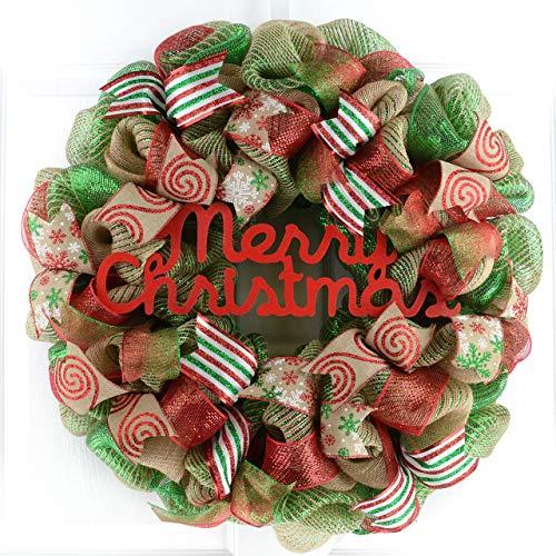 Merry Christmas Wreath | Mesh Christmas Outdoor Front Door Wreath | Red Jute Emerald Green Burlap
