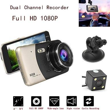 """4/"""" Pulgadas HD 1080P Doble Lente Dvr coche cámara de visión trasera Video Grabadora Cámara en Tablero Sensor G"""