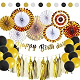 45Pcs Black and Gold Party Packs With Hanging Paper Fans, Tissue Paper Tassel, Polka Dot Garland, Happy Birthday Banner And Balloon Kit for Birthday Wedding Showers Party Decorations