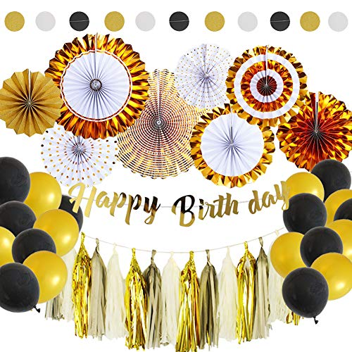 45Pcs Black and Gold Party Packs With Hanging Paper Fans, Tissue Paper Tassel, Polka Dot Garland, Happy Birthday Banner And Balloon Kit for Birthday Wedding Showers Party Decorations by Zilue