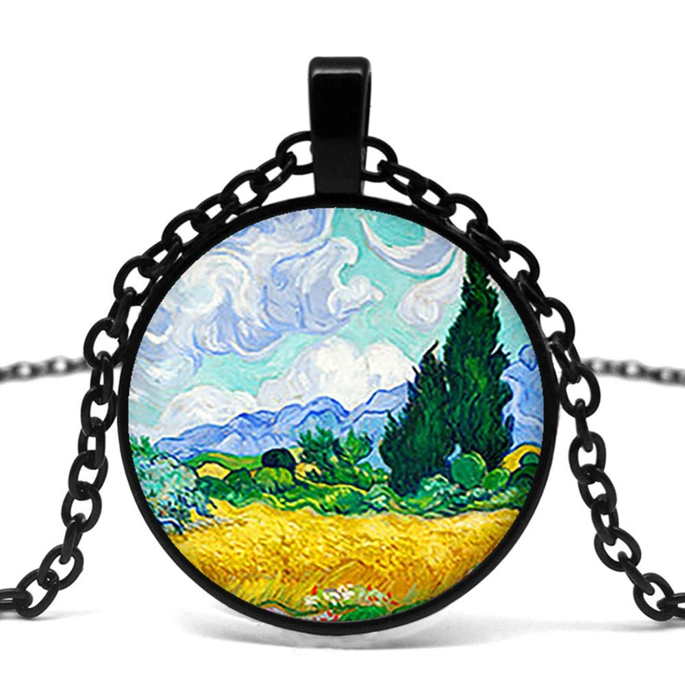 Mens necklace Vintage Van Gogh Wheat Field With Cypress Tree Art Pendant Glass Cabochon Necklace Long Chain Fashion Jewelry.