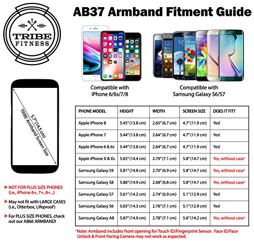 Large Product Image of TRIBE Water Resistant Cell Phone Armband Case for iPhone 8, 7, 6, 6S, Samsung Galaxy S9, S8, S7, S6 with Adjustable Elastic Band & Key Holder for Running, Walking, Hiking