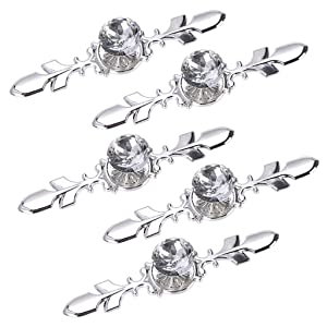 Sumnacon Drawer Dresser Knobs Pull Handles - Crystal Glass Diamond Decorative Knobs with Plate, Cabinet Cupboard Door Knobs with Screws for Kitchen Bathroom Office Decoration Pack of 5