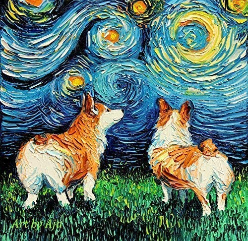 Starry Night Welsh Corgi dog lover Art by Aja choose size and type of paper