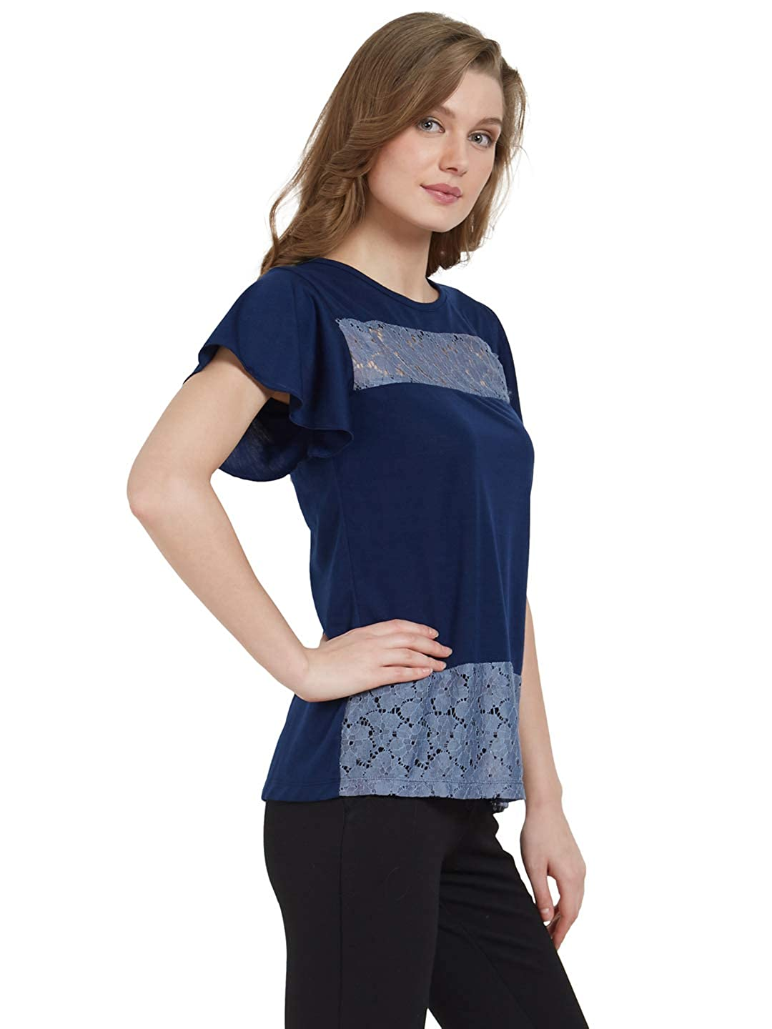 Lace Color Blocked Top Viscose Loungewear Women Ladies Navy Blue A290A
