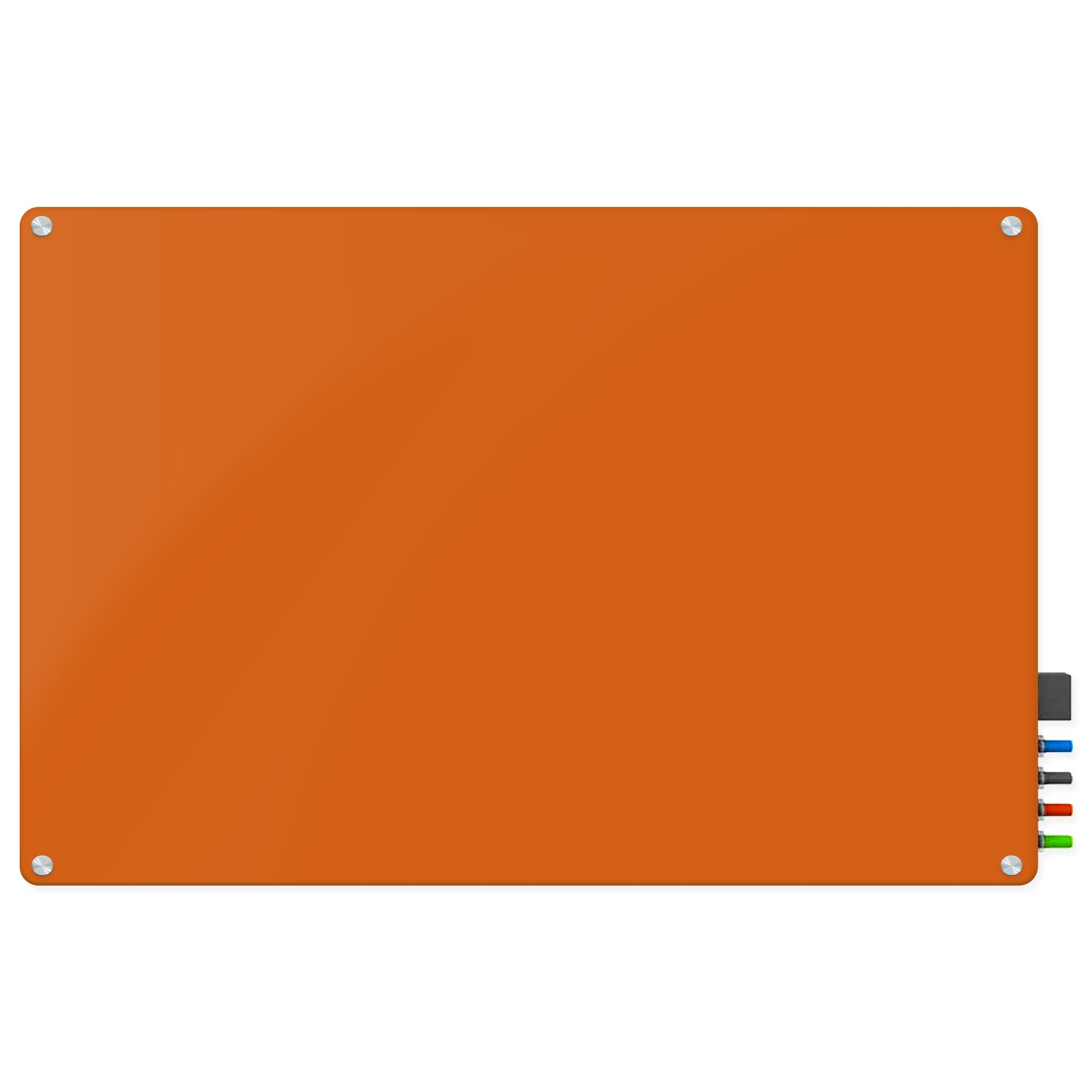 Magnetic Glass Eraser Board - Eased Corners Whiteboard by Fab Glass and Mirror (48'' x 96'', Peach)