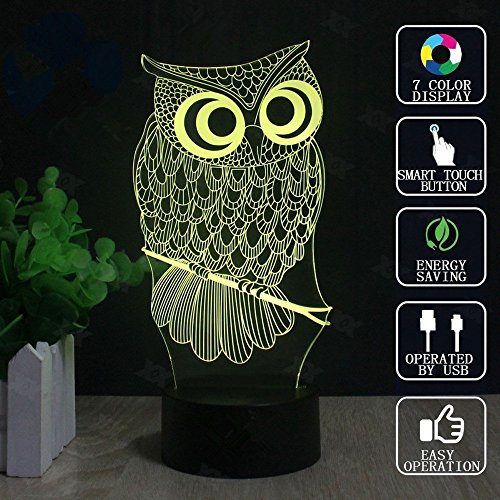 Owl 3D Illusion Lamp, Elstey 7 Color Changing Touch Table Desk LED Night Light Great Kids Gifts Home Decoration by Elstey (Image #8)'