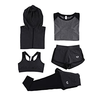 73ba4493dd087 Fight Eagle VANSYDICAL Women's Yoga Suit, 5 Piece Running Jogging Tracksuit  Gym Fitness Outfit Workout Sweatsuit Activewear Set for Women/Girls: ...