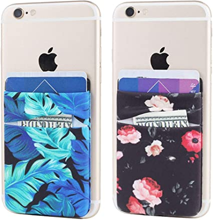 Obbii 2Pack Phone Card Holder Stretchy Lycra Wallet Pocket Credit Card ID Case Pouch Sleeve 3M Adhesive Sticker on iPhone Samsung Galaxy Android Smartphones Blue Ripple Marble