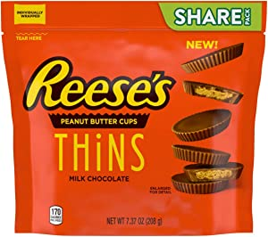REESE'S THINS Halloween Candy Milk Chocolate Peanut Butter Candy, 7.37oz Pouch Pack of 8