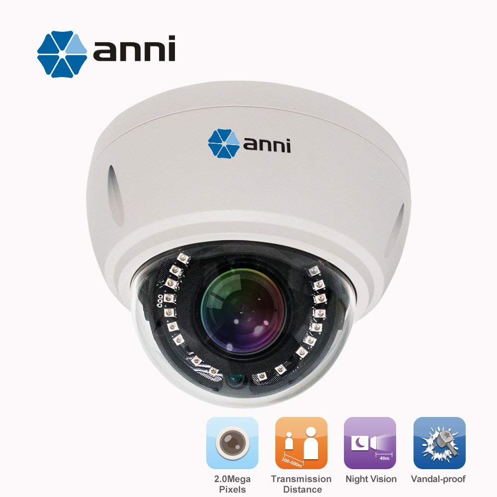 anni Professional CCTV 1/3 Sony CMOS AHD 1080P 18 IR LEDs IR-Cut Indoor/Outdoor Armour Dome Security Camera Waterproof Surveillance Camera (1080P) by anni