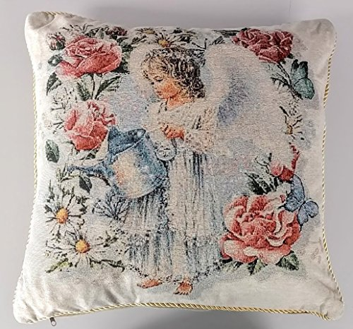 Tache 2 Piece 18 X 18 Inch Angel in the Garden Tapestry Throw Pillow Cushion Cover