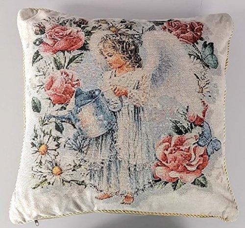 Tache 2 Piece 18 X 18 Inch Angel in the Garden Tapestry Throw Pillow Cushion (Garden Angels Bath)