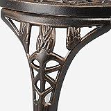 YAHEETECH 3 PCS Patio Set Tulip Design Setting Cast Bistro Table Chair Outdoor Patio Furniture, Aluminum, Antique Bronze