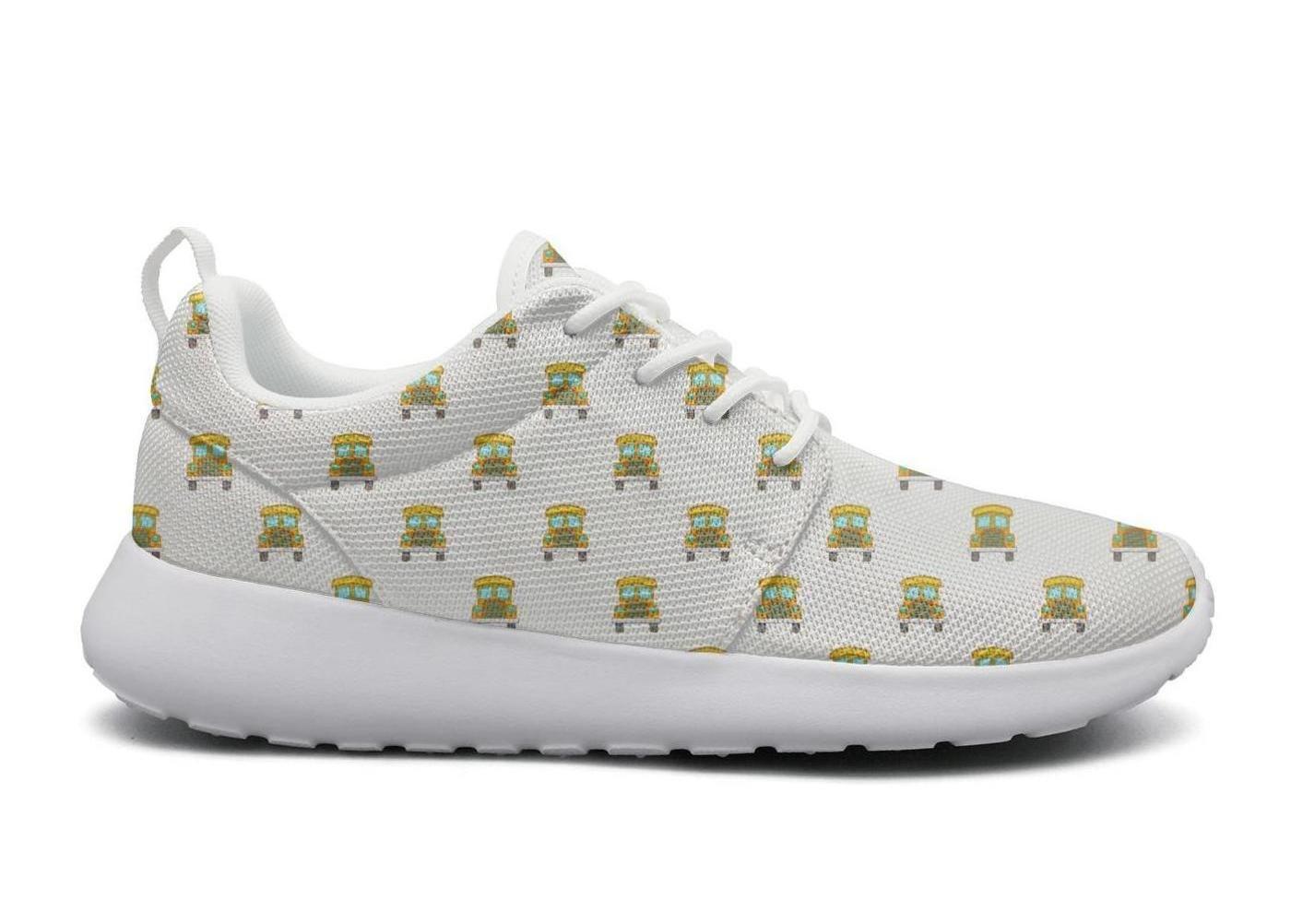 AKDJDS School bus pattern cartoon style white Running Shoe Fashion Sneaker Womens Shoes