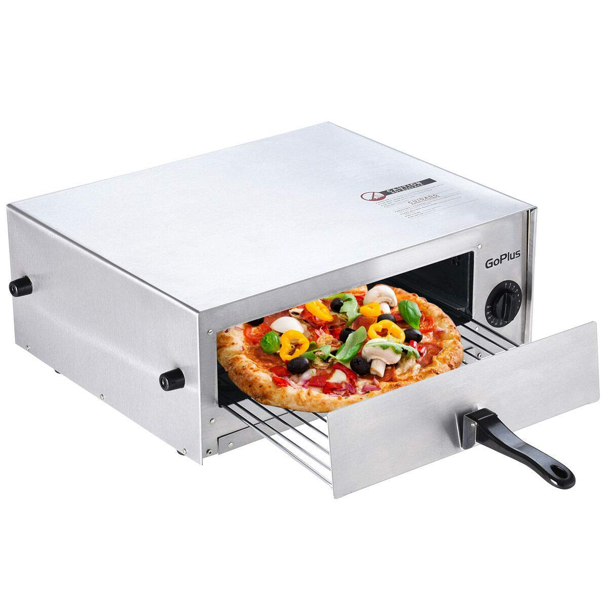 Goplus Pizza Oven, Stainless Steel Pizza Maker Machine, Pizza Baker W/Snack Pan, Snack Maker, Counter Top, for Commercial and Home (Silver)