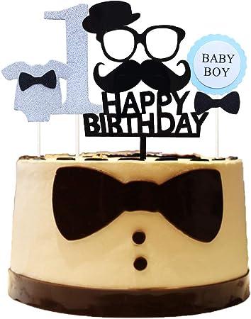 Sensational Amazon Com Maydolbone 4 Pcs Black Mustache Happy Birthday Cake Funny Birthday Cards Online Necthendildamsfinfo