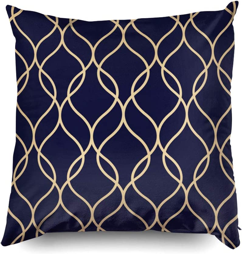 Shorping Zippered Covers Pillowcases 20x20 Inch Abstract Geometric Pattern Wavy Lines Background Gold Ornament Blue Black Decorative Throw Cushion Cover For Home Sofa Bedding Home Kitchen