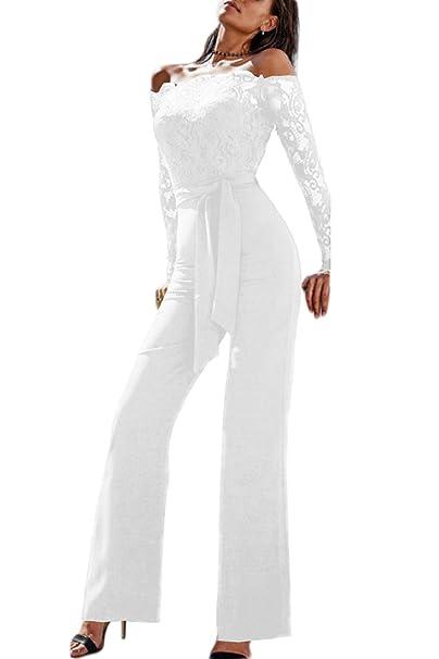 19129e5749f Amazon.com: Women Elegant Lace Jumpsuits Off Shoulder Long Sleeve ...
