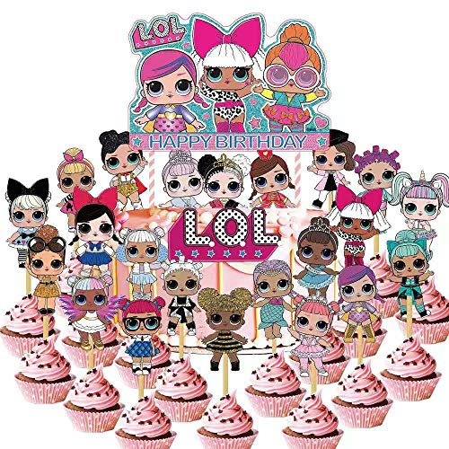 Cupcake Birthday Cakes (24 PCS LOL Cupcake Toppers,LOL Happy Birthday Party Supplies cake Topper for Party)