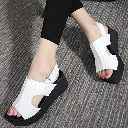 Xing Lin Sandalias De Mujer Verano Sandalias De Cuero Con Tacones Altos Y Punta Abierta De Fondo Plano Casual Cómoda Sandalias De Gran Tamaño white