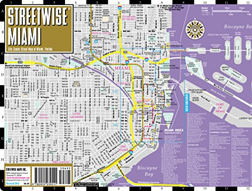 Miami Florida Map.Streetwise Miami Map Laminated City Center Street Map Of Import It