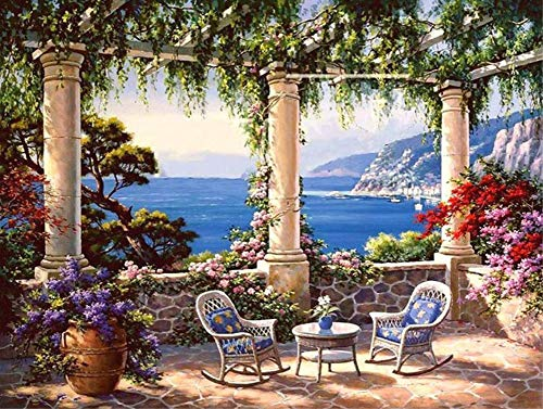 ABEUTY DIY Paint by Numbers for Adults Beginner - Seaside Garden Chair 16x20 inches Number Painting Anti Stress Toys (No Frame)