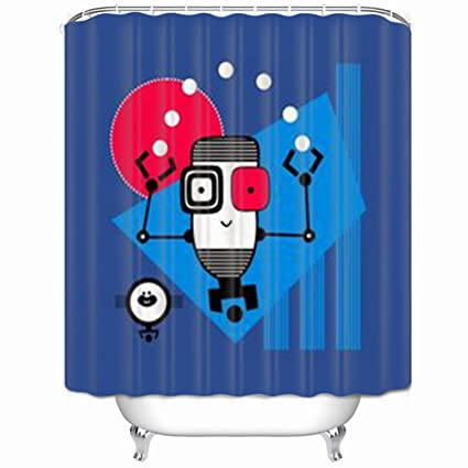 Shower Curtains Robot Tshirt Kids Android Textures Watercolor Hello Polyester Fabric Waterproof Mildew 66 X 72