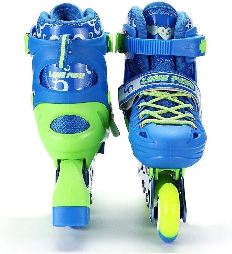 子供のための調節可能なインラインスケート、男の子初心者は快適な耐久力のある職業インラインスケートをフラッシュします (Color : 青, Size : M(35-38)) 青 M(35-38)