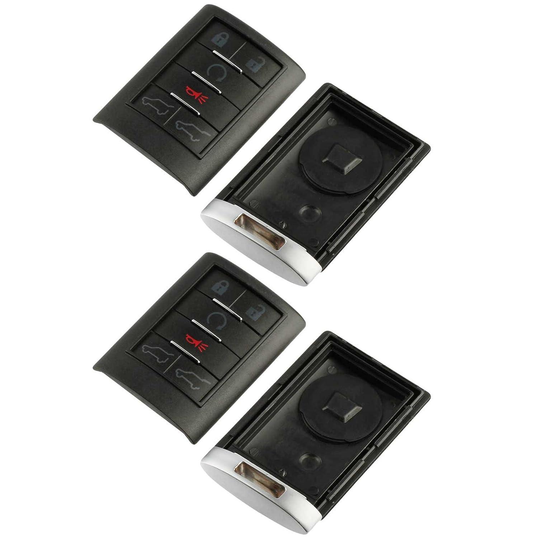 Key Fob Keyless Entry Smart Remote Shell Case /& Pad fits Cadillac 2007-2014 Escalade Set of 2