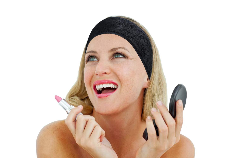 KinHwa microfibra Magia appiccicosa da donna per capelli fascia spa lavabile fascia Wrap fasce con nastro magico per bagno trucco del viso e sport 3 Pack 8cmx65cm Nero