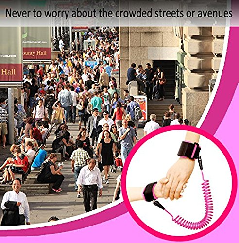 Anti Lost Wrist Link + Toddlers Leash 2 packs Child Walking Safety Harness Kids Wristband Assistant Strap Belt (Butterly pink) by Standard (Image #8)