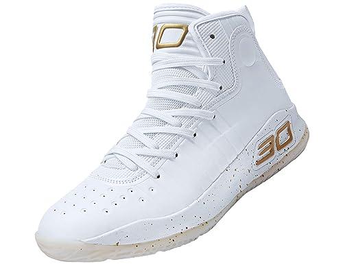 SINOES Hombre Zapatillas de Baloncesto Calzado Deportivo Al Aire Libre Moda High Top Sneaker Antideslizante Zapatillas de Deporte Ligeros Zapatos para