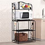 go2buy 4-Tier Metal Bakers Rack Planter Potted/Plants/Bakers/Shoe/Kitchen/Bathroom Garage Standing Bookshelf Furniture Storage Shelf Rack Flower