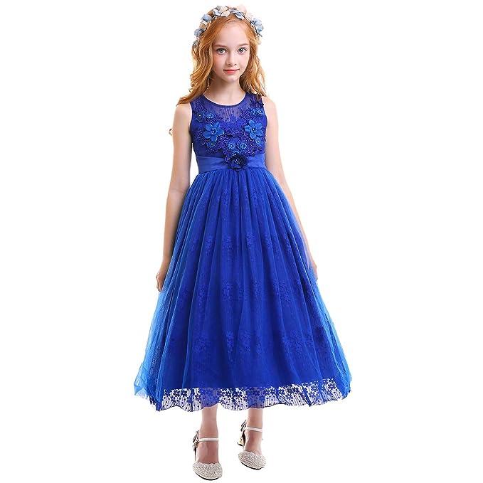 c332cd066215 Little Big Girl Flower Applique Lace Rhinestone Bead Tutu Dress Princess  Pageant Wedding Junior Bridesmaid First