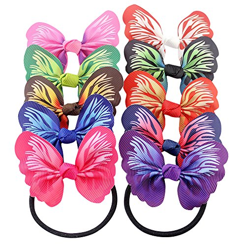ShungFun Ponytail Holder Baby Girls Grosgrain Ribbon Hair Bow Ties Butterfly Pattern Print Hair Holder Elastics Hair Bands for Female Girls Keens Teens Hair Accessories (Set of (Butterfly Grosgrain Ribbon)