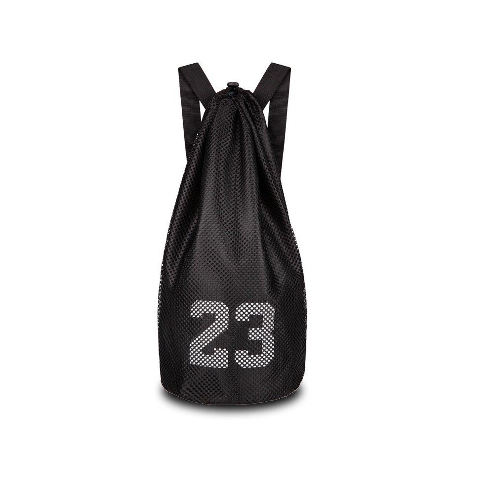29 L Black Escomdp 2-layer 230 g Drawstring Sports Storage Bag Basketball Football Volleyball Backpack