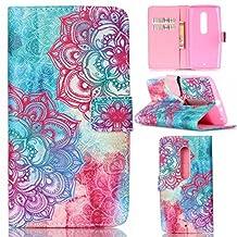 Motorola Moto X Play Case, Moto X Play Case,Gift_Source [Colorful Flower Mandala]Luxury Wallet PU Leather Case Flip Cover Built-in Card Slots Flip case Pattern For Motorola X Play