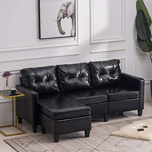 VINGLI Convertible Sectional Sofa Small 3-Seater Sectional Couch Faux Leather L-Shape Upholstered Sectional Sofa Couch