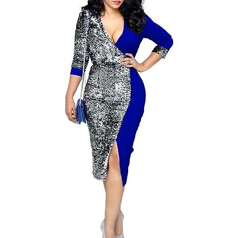cd0762f61d Amazon.com: TRENTON Women Dresses, Sequin Patchwork Deep V Long ...
