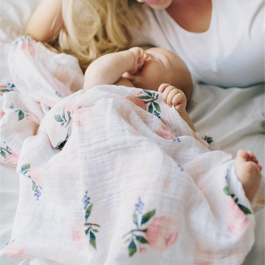 MagiDeal 2er Set Baby Swaddle Spuckdecke Puckt/ücher Musselin Decke T/ücher Wickeltuch f/ür Kleinkind Neugeborener Blume und Kirschbl/üte