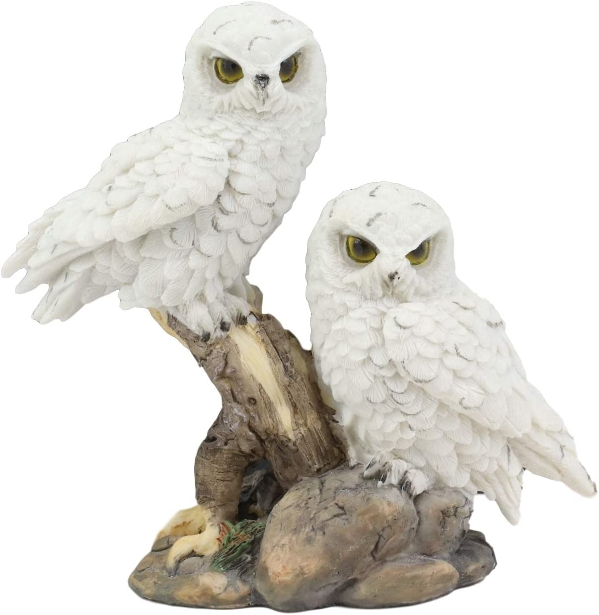 "Ebros Mystical Two White Snowy Baby Owlets Perching On Tree Branch Statue 7"" Wide Realistic Nocturnal Owl Pair Sculpture Nature Animal Bird Owls Figurine"