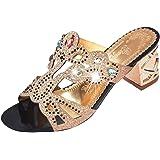 0d200bec2 WOCACHI Womens Sandals Summer Fashion Rhinestone Mid Heel Ladies Beach  Sandal Shoes