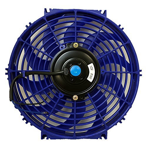 (UPGR8 Universal High Performance 12V Slim Electric Cooling Radiator Fan with Fan Mounting Kit (12 Inch, Blue))