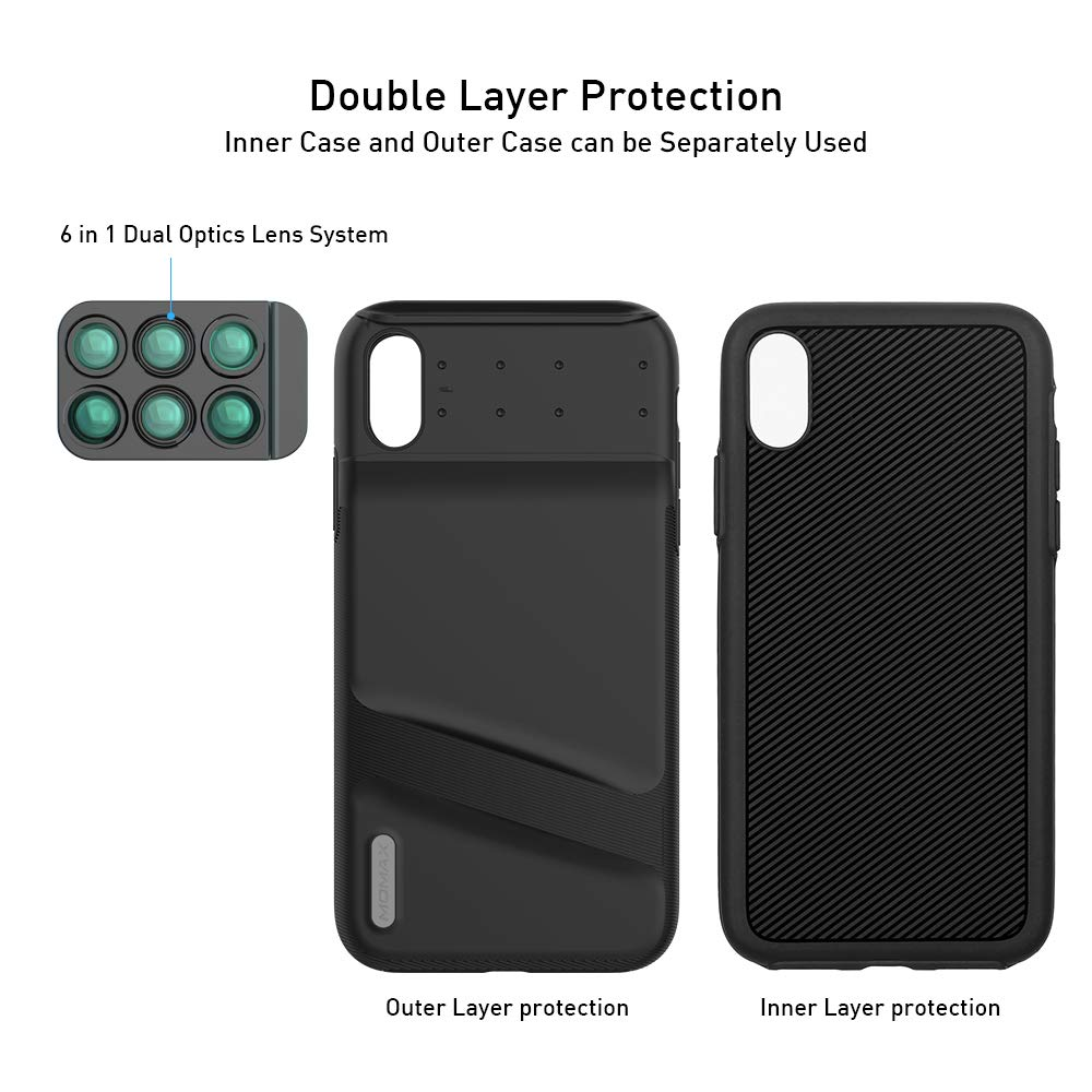 180/°Fisheye, 2X Telephoto,120/° Wide-Angle, 10X//20X Macro Black Two Layers Double Protection MOMAX Lens Case for Apple iPhone Xs MAX: 6 in 1 Dual Optics Lens Kit