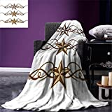 smallbeefly Primitive Country Decor Digital Printing Blanket Western Stars Scroll Design Ornate Swirls Antique Artistic Summer Quilt Comforter Brown Light Coffee