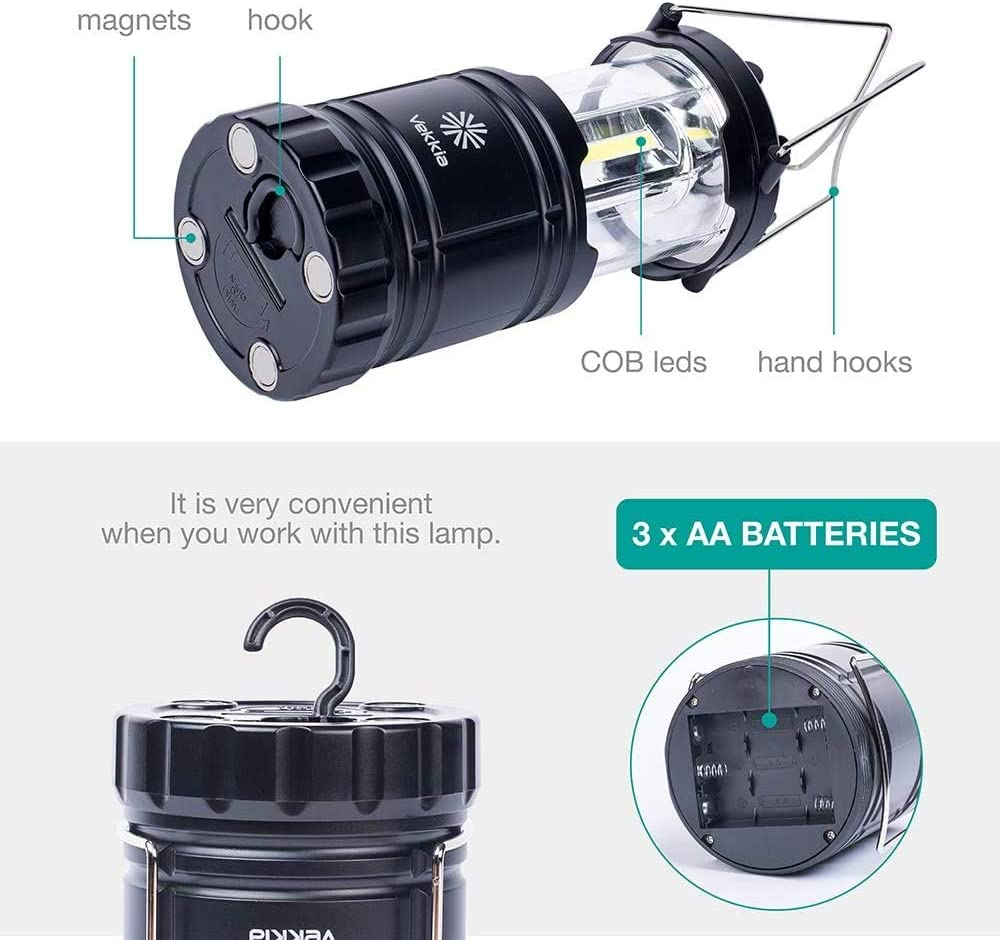 Vekkia COB LED Camping Lanterns,Battery Powered Lamp with Magnetic Base,Collapsible LED Lantern-Outdoor Camping Lights Perfect for Fishing,Hiking,Power Outage,Hurricane Season,etc,Pack of 2