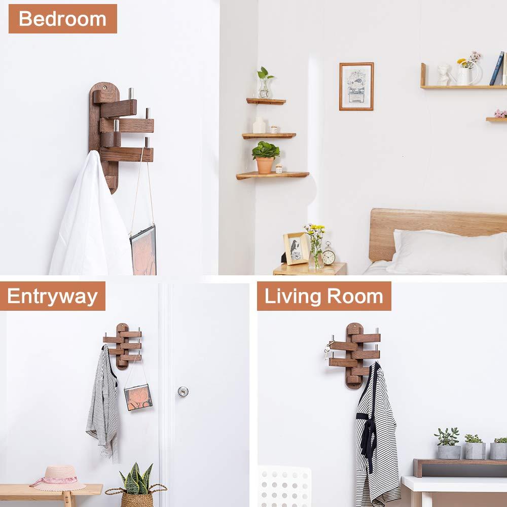 Amazon.com: Ganchos de madera maciza giratorios, brazo ...