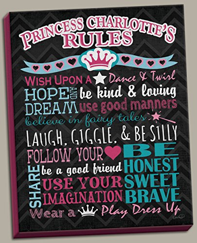 Princess Crown Canvas Wall Art (Adorable Personalized Princess Rules Poster Print; Great for a Childs Room or Nursery; One 12x16in Hand-Stretched Canvas. Pink/Teal/Black)
