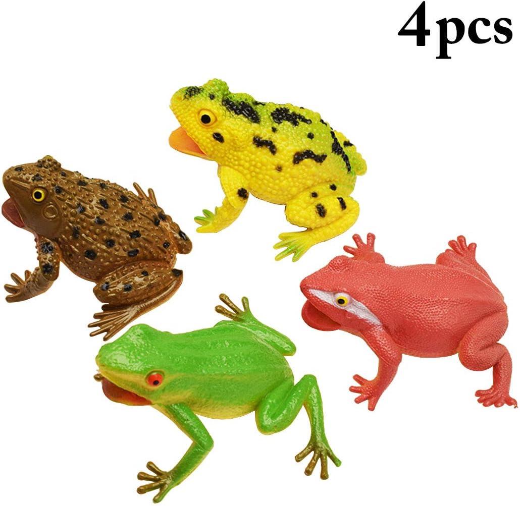 FunPa Rana de Juguete, 4 UNIDS Rana de Goma Artificial Apretón de Goma Squeaky y Screaming Rana para Mascotas Chico Niños Bañera